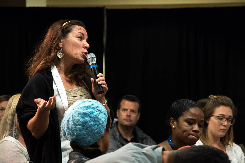 Audience questions during Mental Health in the Startup Scene panel at Denver Startup Week. (Chloe Aiello/Denverite)
