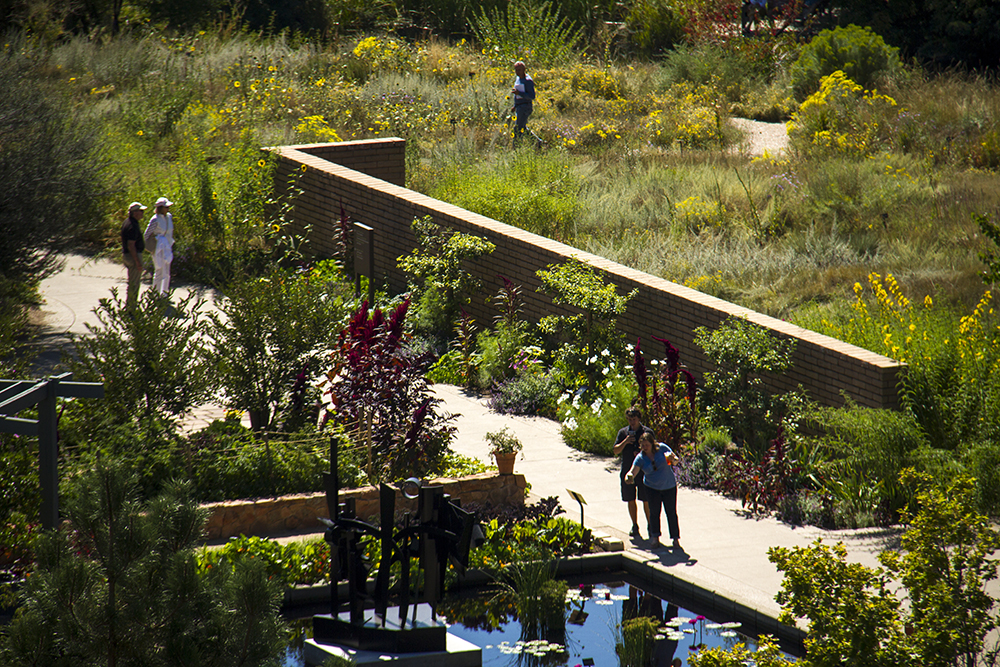 A microscene of the Denver Botanic Garden, as seen from Jaymie Toma's balcony. (Kevin J. Beaty/Denverite)  denver botanic gardens; residential real estate; kevinjbeaty; denverite; denver; colorado;