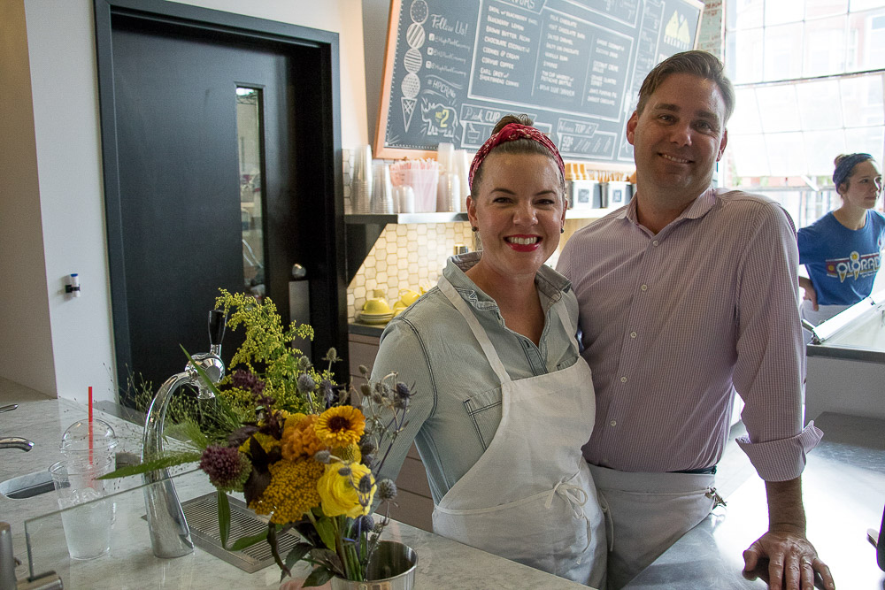 Chad Stutz and Erika Thomas, husband and wife and owners, at High Point Creamery at Central Market. (Chloe Aiello/Denverite)