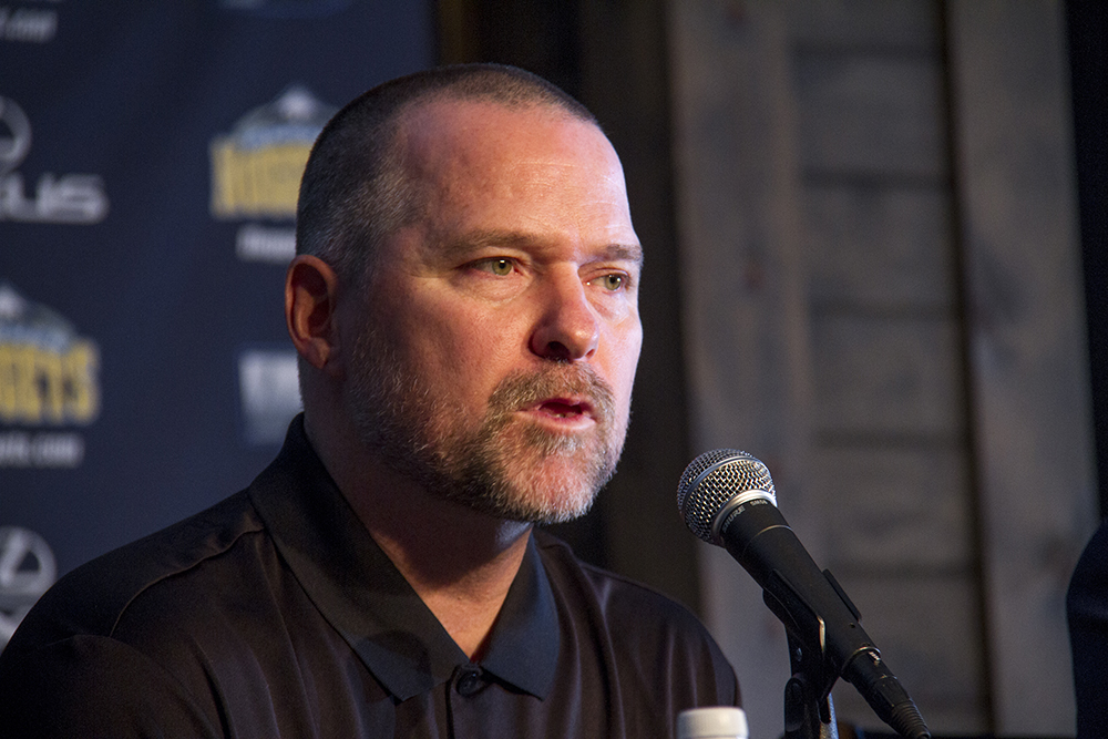 Denver Nuggets coach Mike Malone addresses the media at the team's press day, Sept. 26, 2016. (Kevin J. Beaty/Denverite)  nuggets; basketball; denver; sports; kevinjbeaty; colorado; denverite; malone;
