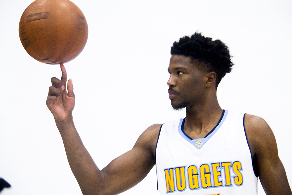 Shooting guard Malik Beasley spins a ball at the Denver Nuggets press day, Sept. 26, 2016. (Kevin J. Beaty/Denverite)  pepsi center; nuggets; basketball; sports; kevinjbeaty; denver; colorado; denverite;
