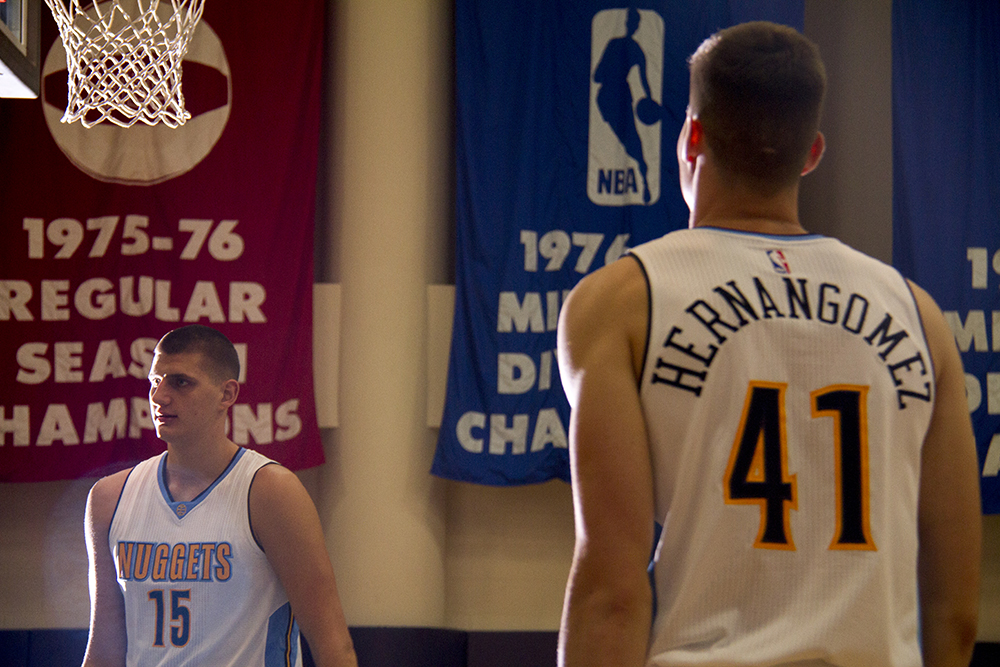 Nikola Jokić and Juan Hernangómez shoot around the Pepsi Center's practice floor during the Denver Nuggets press day, Sept. 26, 2016. (Kevin J. Beaty/Denverite)  pepsi center; nuggets; basketball; sports; kevinjbeaty; denver; colorado; denverite;