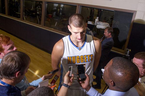 Center Nikola Jokić speaks to reporters at the Denver Nuggets press day, Sept. 26, 2016. (Kevin J. Beaty/Denverite)  pepsi center; nuggets; basketball; sports; kevinjbeaty; denver; colorado; denverite;