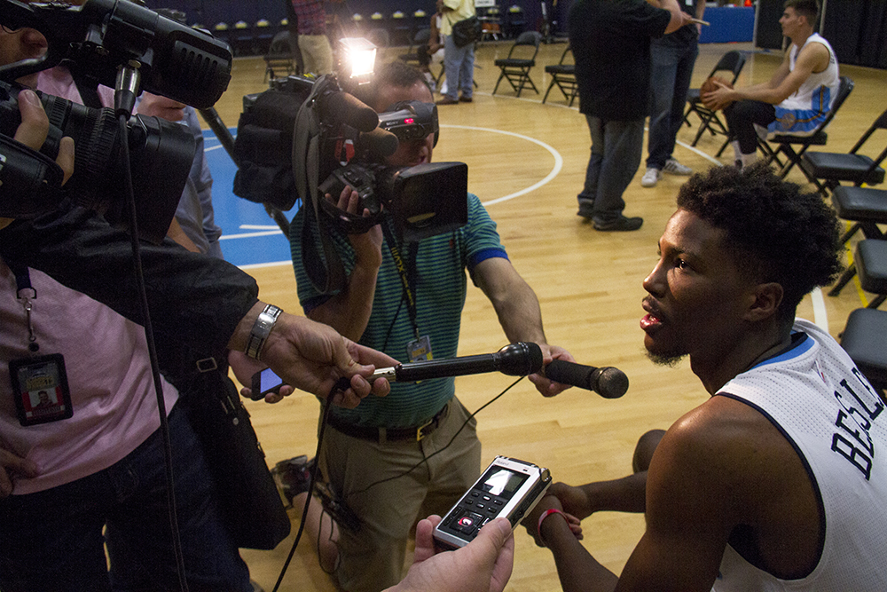 Shooting guard Malik Beasley talks to reporters during Denver Nuggets press day, Sept. 26, 2016. (Kevin J. Beaty/Denverite)  pepsi center; nuggets; basketball; sports; kevinjbeaty; denver; colorado; denverite;