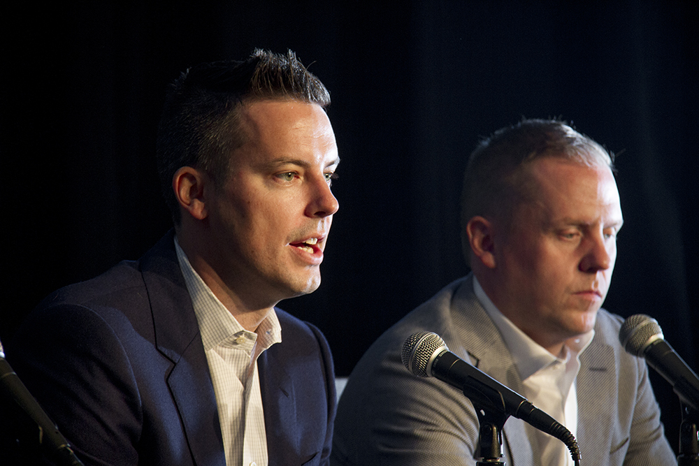 Owner Josh Kroenke and General Manager Tim Connelly speak to reporters during the Denver Nuggets press day, Sept. 26, 2016.  pepsi center; nuggets; basketball; sports; kevinjbeaty; denver; colorado; denverite