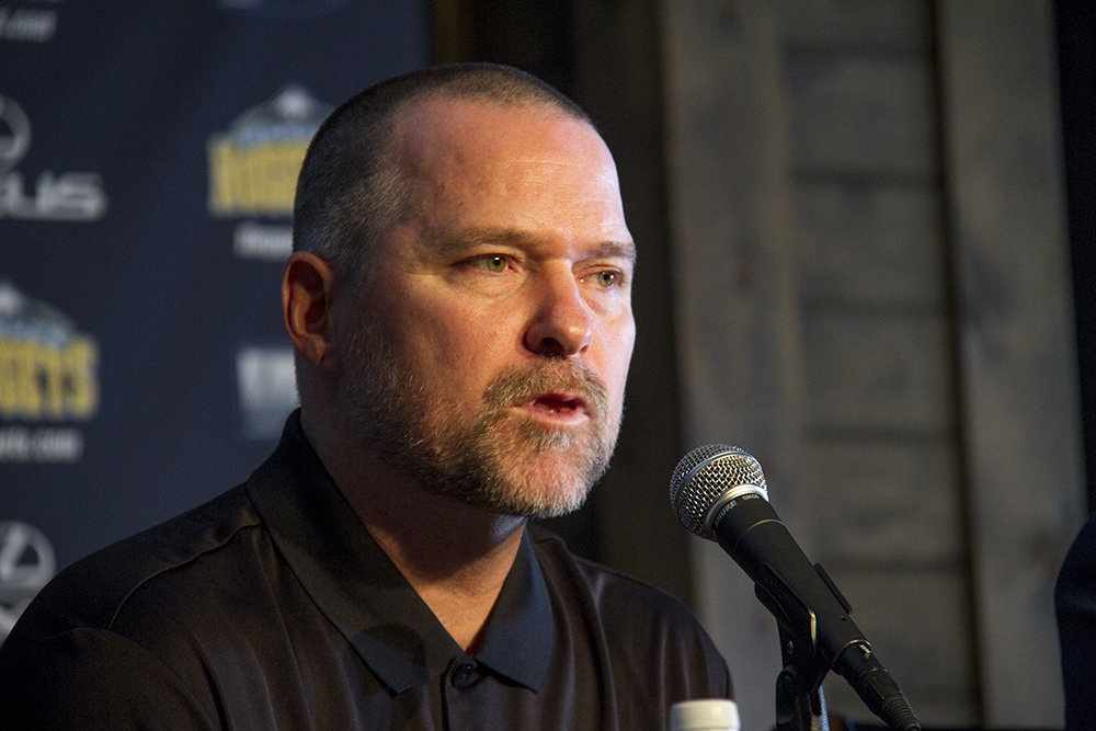 Coach Mike Malone speak to reporters during the Denver Nuggets press day, Sept. 26, 2016.  pepsi center; nuggets; basketball; sports; kevinjbeaty; denver; colorado; denverite
