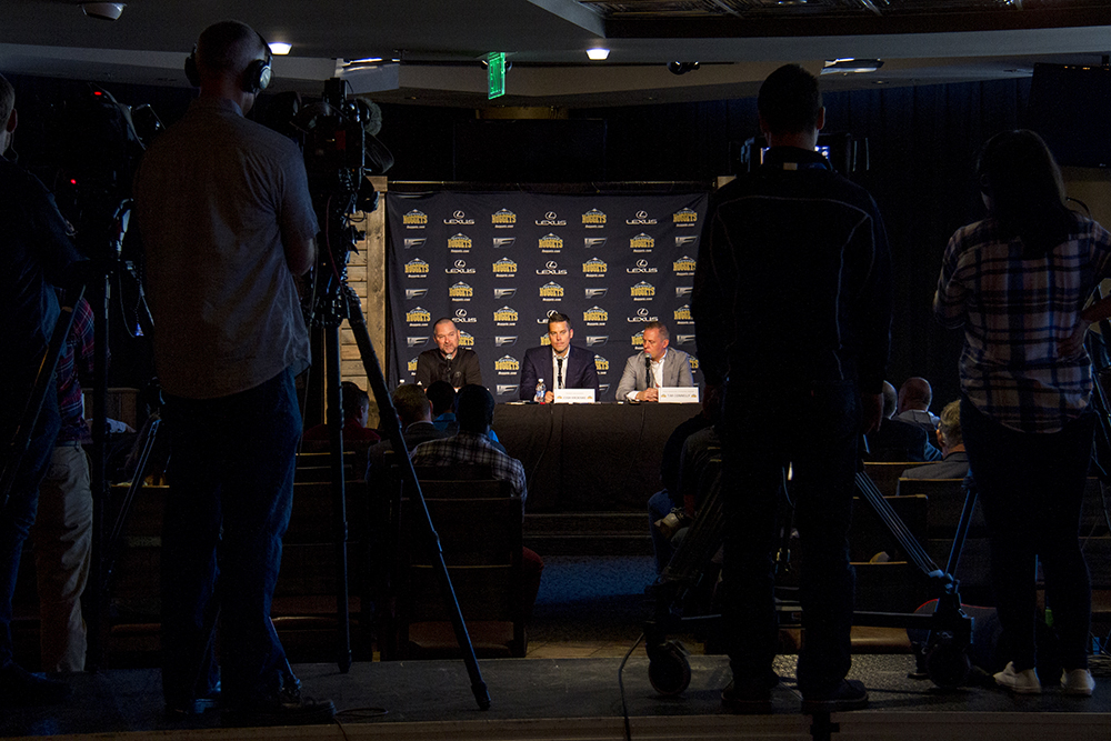 Coach Mike Malone, Owner Josh Kroenke, and General Manager Tim Connelly speak to reporters during Denver Nuggets press day, Sept. 26, 2016. (Kevin J. Beaty/Denverite)  pepsi center; nuggets; basketball; sports; kevinjbeaty; denver; colorado; denverite;