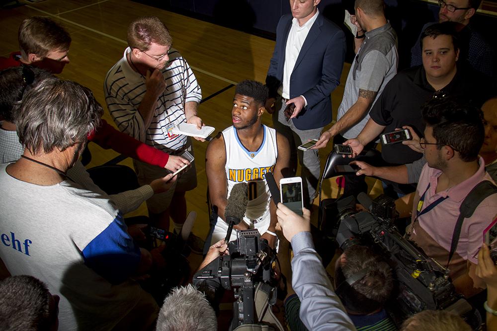 Point guard Emmanuel Mudiay speaks to reporters during Denver Nuggets press day, Sept. 26, 2016. (Kevin J. Beaty/Denverite)  pepsi center; nuggets; basketball; sports; kevinjbeaty; denver; colorado; denverite;