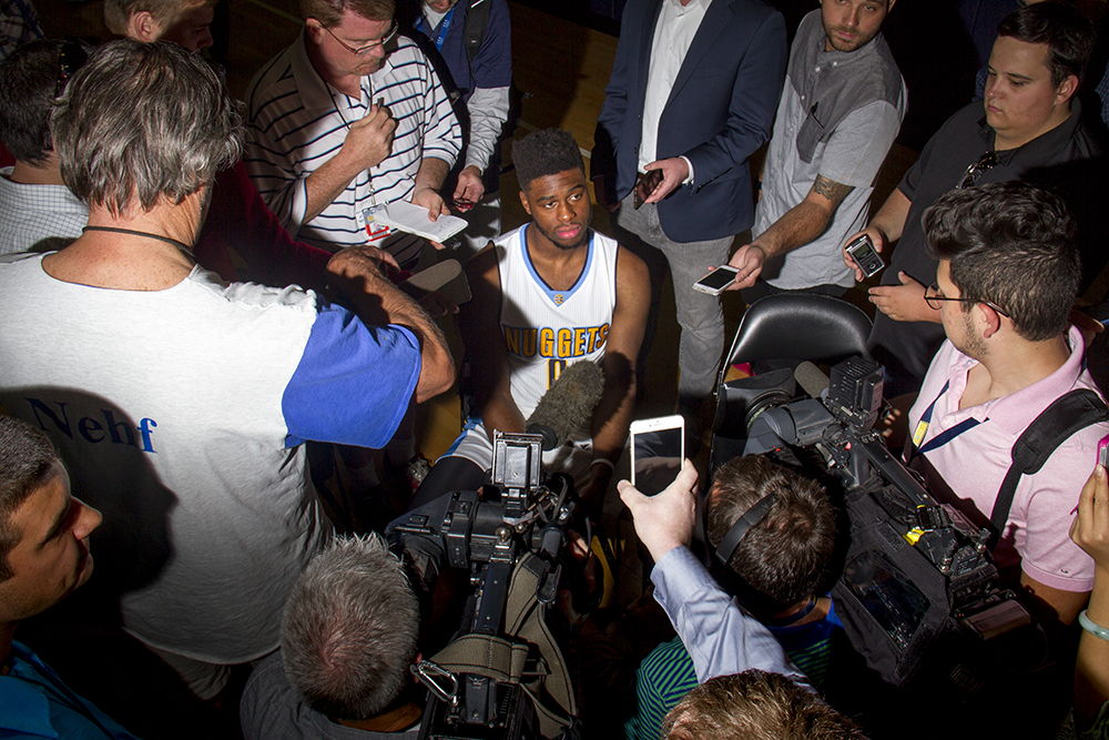 Point guard Emmanuel Mudiay speaks to reporters during Denver Nuggets press day, Sept. 26, 2016. (Kevin J. Beaty/Denverite)  pepsi center; nuggets; basketball; sports; kevinjbeaty; denver; colorado; denverite;