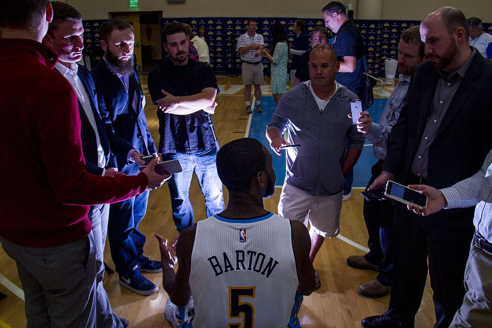 Forward-guard Will Barton speaks to reporters at the Denver Nuggets press day, Sept. 26, 2016. (Kevin J. Beaty/Denverite)  pepsi center; nuggets; basketball; sports; kevinjbeaty; denver; colorado; denverite;