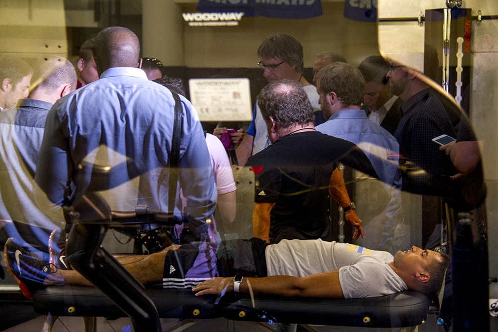 A view inside a physical therapy room as reporters crowd around Will Barton during the Denver Nuggets press day, Sept. 26, 2016. (Kevin J. Beaty/Denverite)  pepsi center; nuggets; basketball; sports; kevinjbeaty; denver; colorado; denverite;