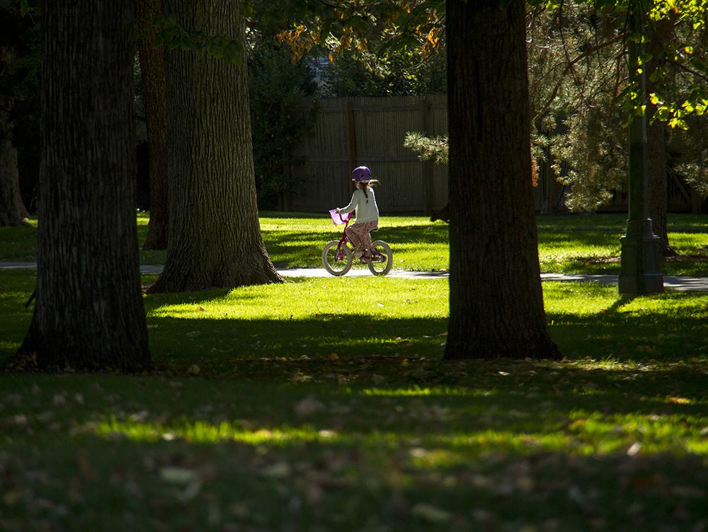 A kid on a bike in a pool of light in Cheesman Park. (Kevin J. Beaty/Denverite)  bikes; kids; cheesman park; denver; denverite; kevinjbeaty; colorado;