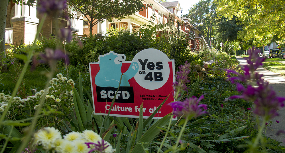 "A ""Yes on 4B"" sign in Cheesman Park. (Kevin J. Beaty/Denverite)  politics; campaign sign; ballot measure; cheesman park; denver; denverite; kevinjbeaty; colorado"