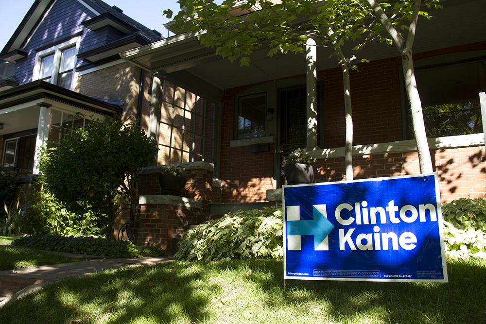 A Beth McCann campaign sign in a Speer neighborhood yard. (Kevin J. Beaty/Denverite)  clinton kaine; campaign sign; politics; election; denver; colorado; kevinjbeaty; denverite