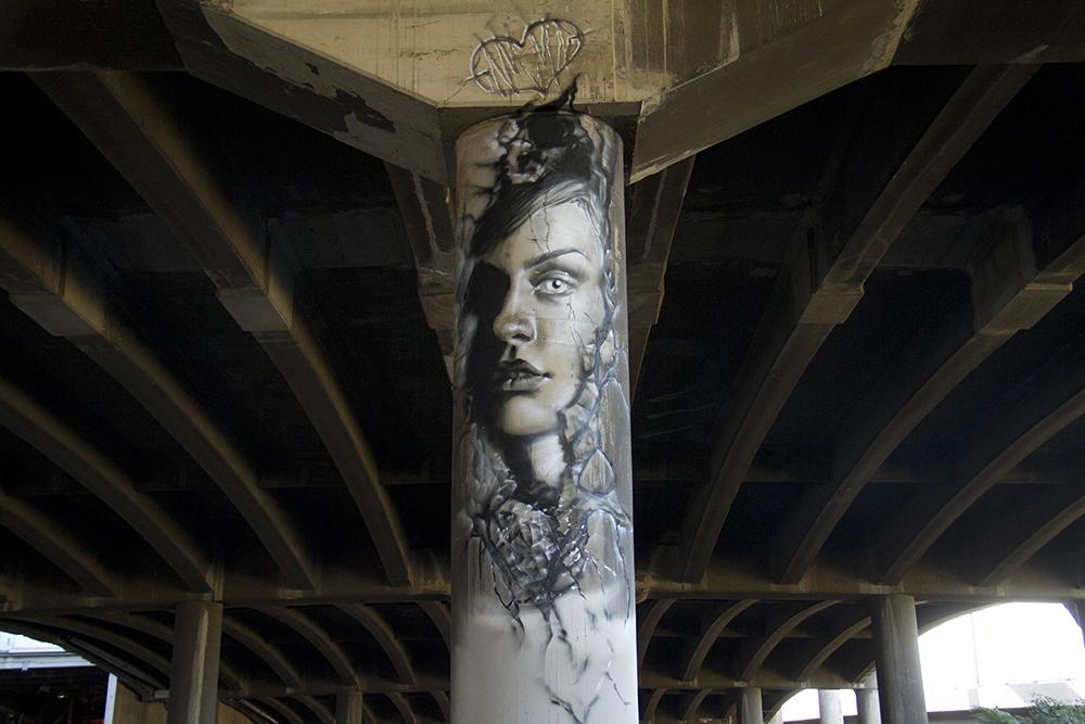 A pillarous mural painted by Gammagallery. (Kevin J. Beaty/Denverite)  mural; graffiti; art; i-70; i70; elyria; swansea; denver; colorado; cdot; kevinjbeaty; denverite;
