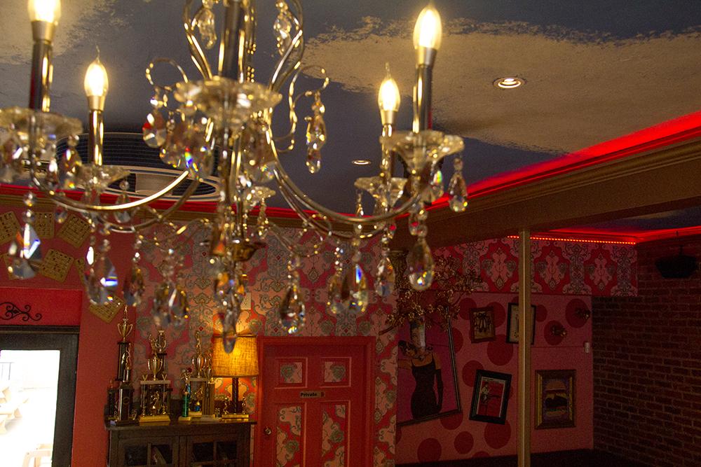A chandelier inside Hamburger Mary's on Humboldt and 17th. (Kevin J. Beaty/Denverite)  hamburger marys; food; restaurant; denver; colorado; kevinjbeaty; denverite