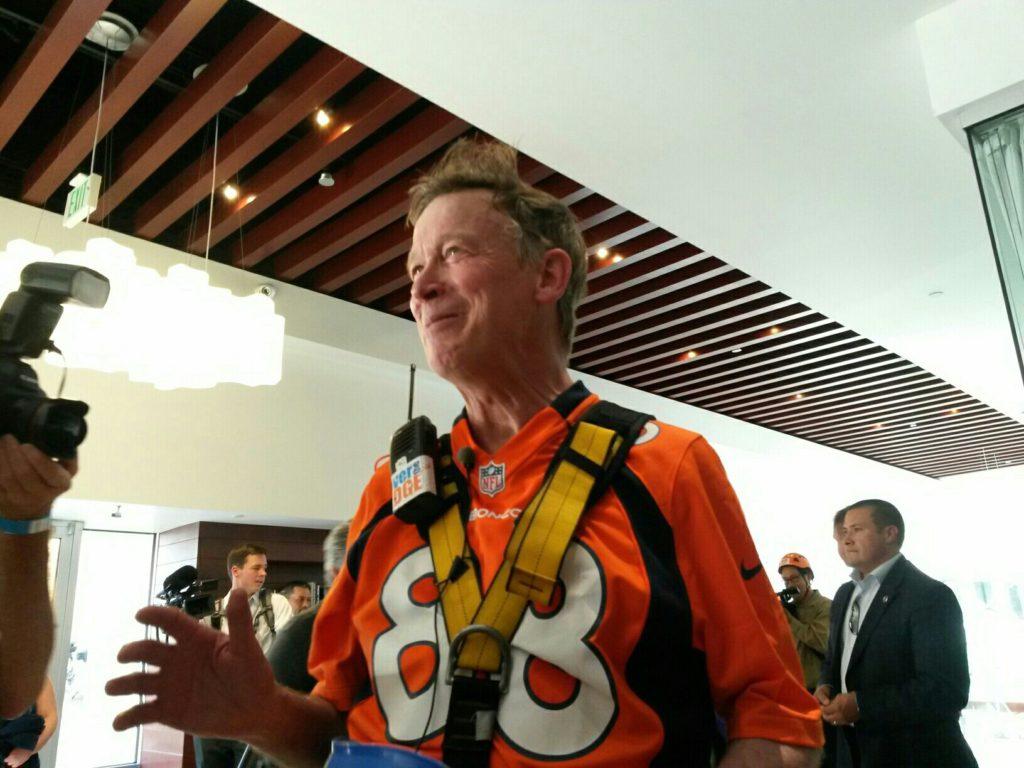 Gov. John Hickenlooper after rappelling down 1600 Glenarm. (Kevin J. Beaty/Denverite)
