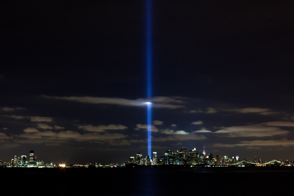 A light display shines from where the World Trade Center once stood (Sgt. Randall A. Clinton / U.S. Marine Corps)