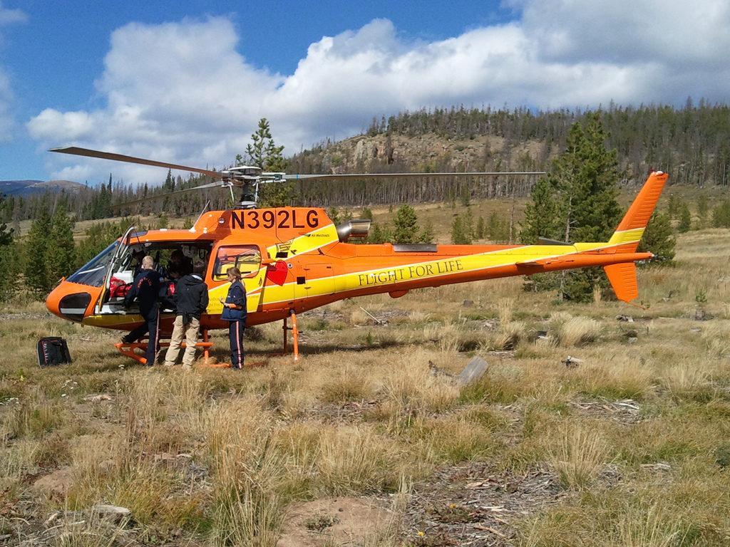 A Flight For Life Colorado helicopter. (Matt Mordfin/Flickr)