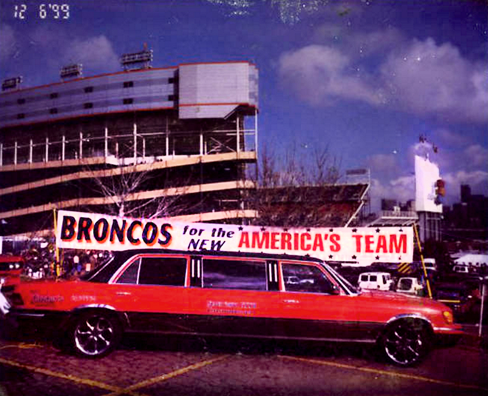 """Photo shows a 1973 Mercedes Benz 450 SEL limo before being crushed. The car, owned by Ralph Williams aka """"The Limo Driver"""" had been turned into a Bronco-mobile in 1998. The car had been stolen from a repair shop at 28th Avenue and Colorado Blvd. last Wednesday, when he wanted to replace its engine and have it repainted in time for the Broncos playoff game this Saturday. (Ralph Williams/Special, Rocky Mountain News/Denver Public Library/Western History Collection/RMN-031-4299)  denver public library; dpl; archival; archive; historic; broncos; limo; football; mile high field; denver; denverite; colorado;"""