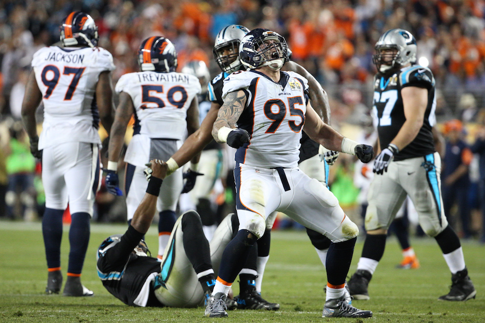 Denver Broncos defensive end Derek Wolfe (95) celebrates a sack of Carolina Panthers quarterback Cam Newton (1) in during third quarter action in Super Bowl 50 at Santa Clara, Calif. July 2, 2016 (Trevor Brown, Jr./ Denver Broncos)