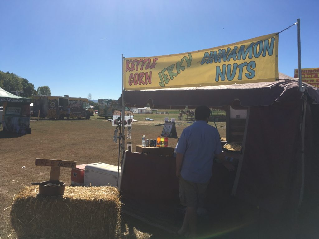 There are fairground food stands and food trucks at Chatfield Farms. (Dave Burdick/Denverite)