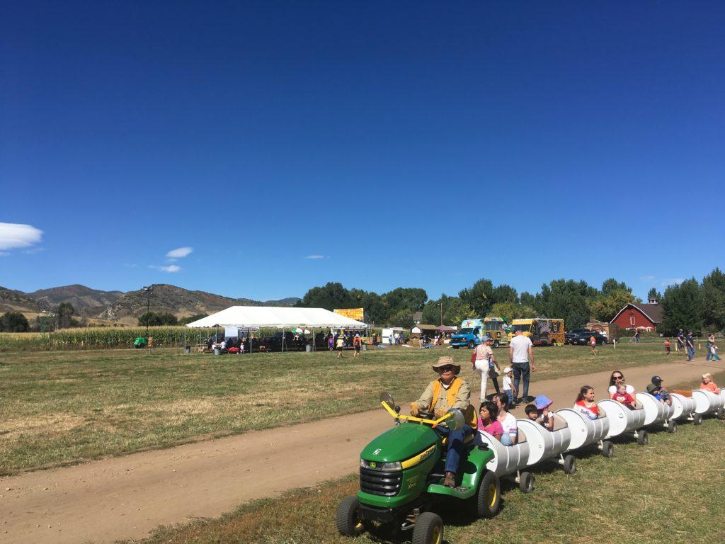 The barrel train ride at Chatfield Farms. (Dave Burdick/Denverite)