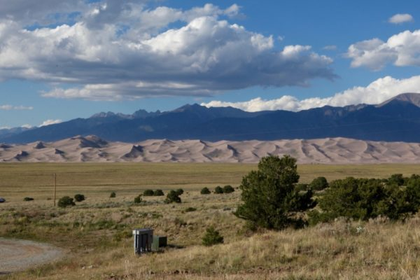 The view of the dunes from Great Sand Dunes Oasis. (Andrew Kenney/Denverite)