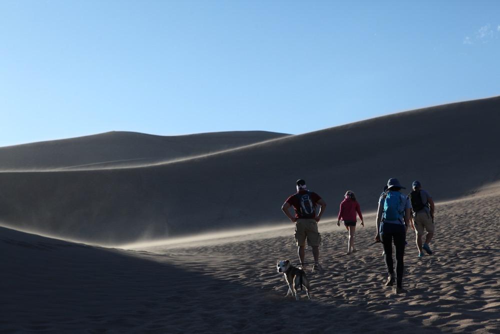 Exploring the dunes. (Andrew Kenney/Denverite)