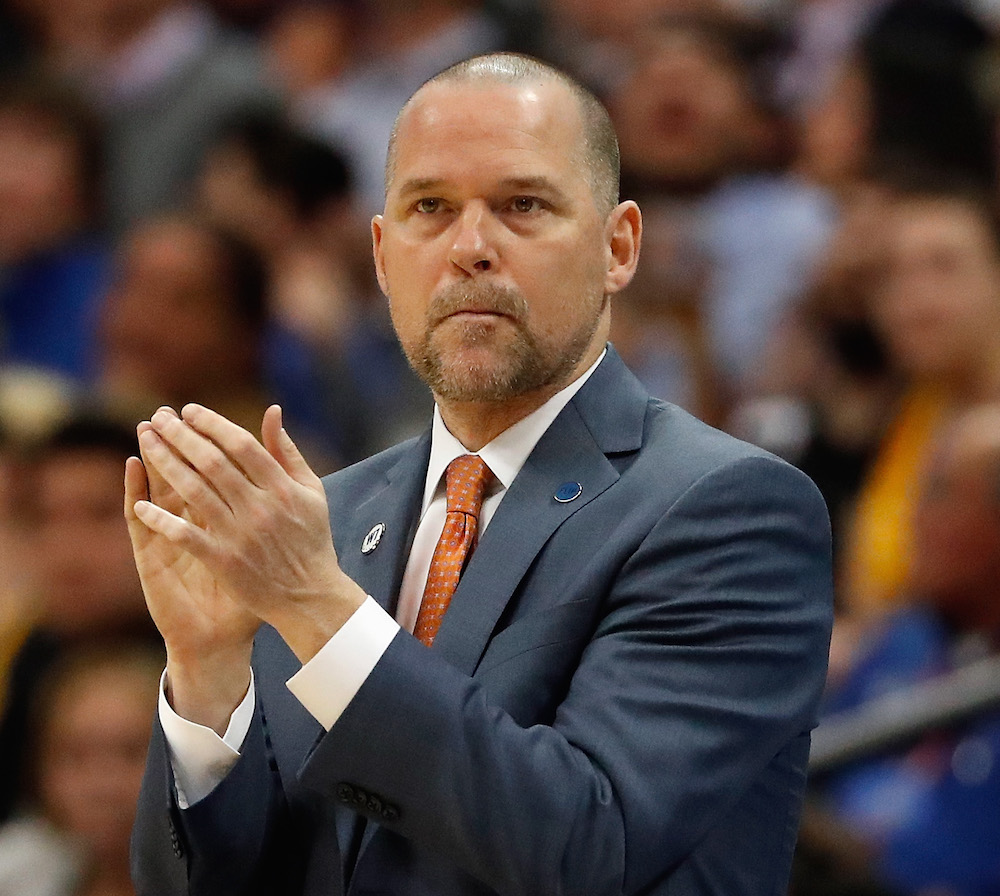 DENVER, CO - MARCH 02:  Head coach Michael Malone of the Denver Nuggets leads his team against the Los Angeles Lakers at Pepsi Center on March 2, 2016 in Denver, Colorado. The Nuggets defeated the Lakers 117-107. NOTE TO USER: User expressly acknowledges and agrees that, by downloading and or using this photograph, User is consenting to the terms and conditions of the Getty Images License Agreement.  (Photo by Doug Pensinger/Getty Images)