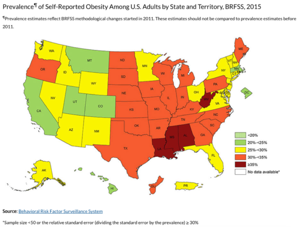 2015 U.S. obesity map. (Courtesy of Centers for Disease Control and Prevention)