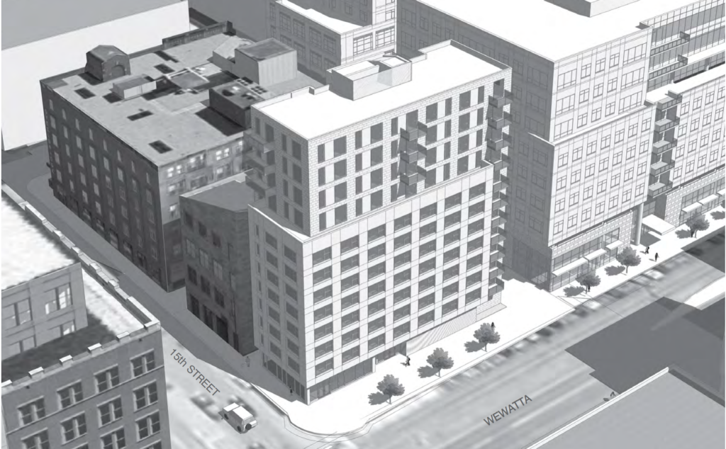 A rendering of new proposed micro apartments at 15th Street and Wewatta. (Lower Downtown Design Review Board)