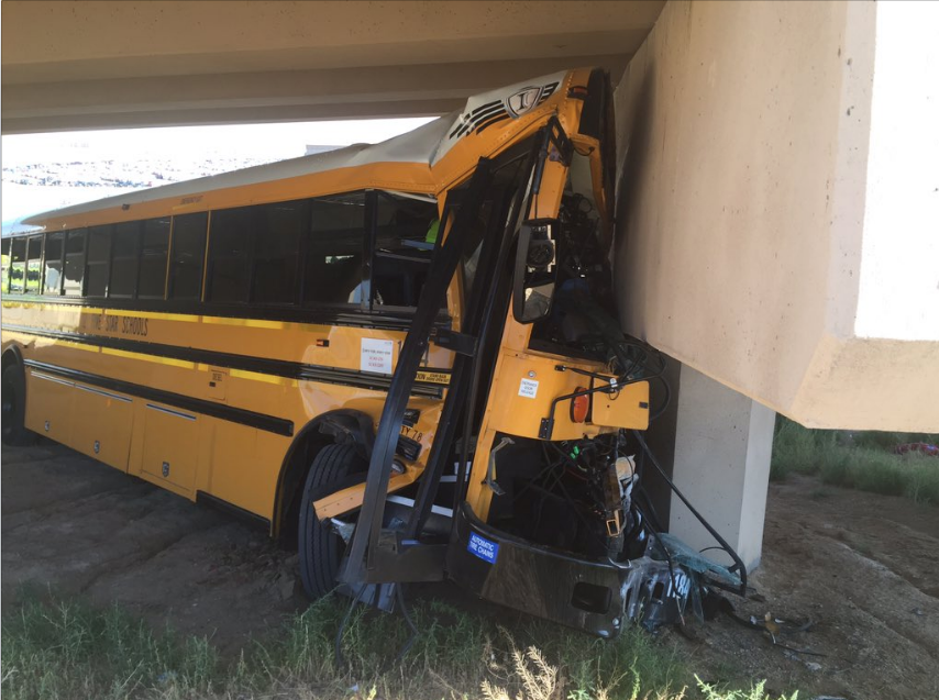 A school bus crashed near Denver International Airport on Sept. 11. (Denver Police Department)