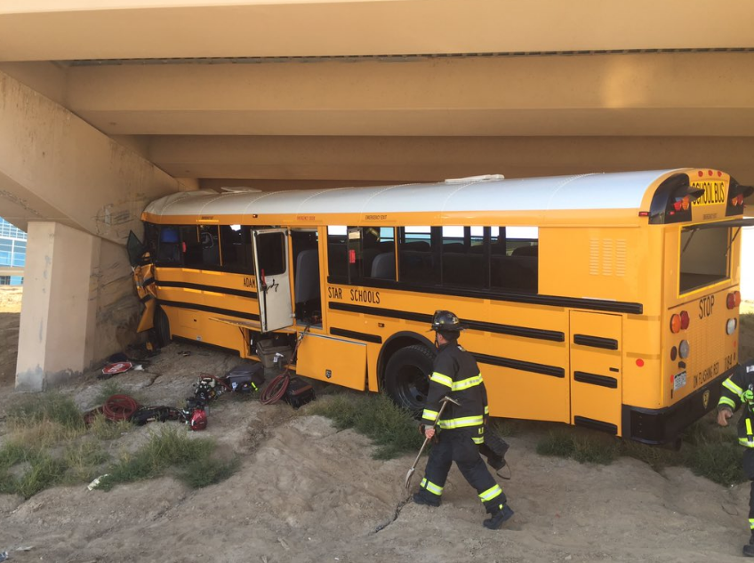 A school bus crashed at Denver International Airport. (Denver Police Department)