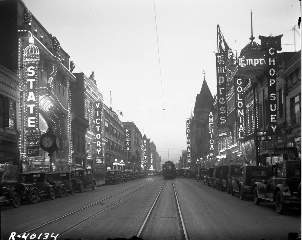 "A view down Curtis Street, referred to as ""Theater Row"" sometime between 1927 and 1930. (Denver Public Library/Western History Collection/Rh-77)"