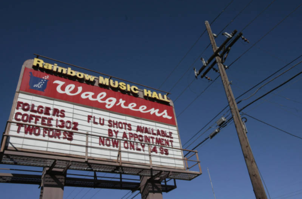 The Rainbow Music Hall marquee remained for about two decades after Walgreens brought the venue. (Denver Public Library/Rocky Mountain News/RMN-045-1743)