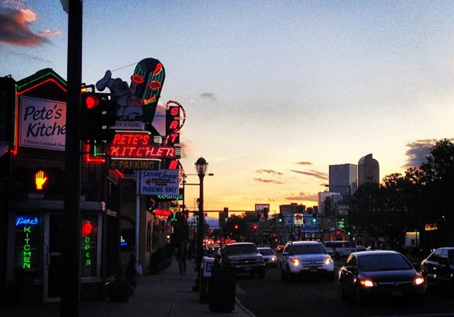Looking west down Colfax Avenue. (Ashley Dean/Denverite)