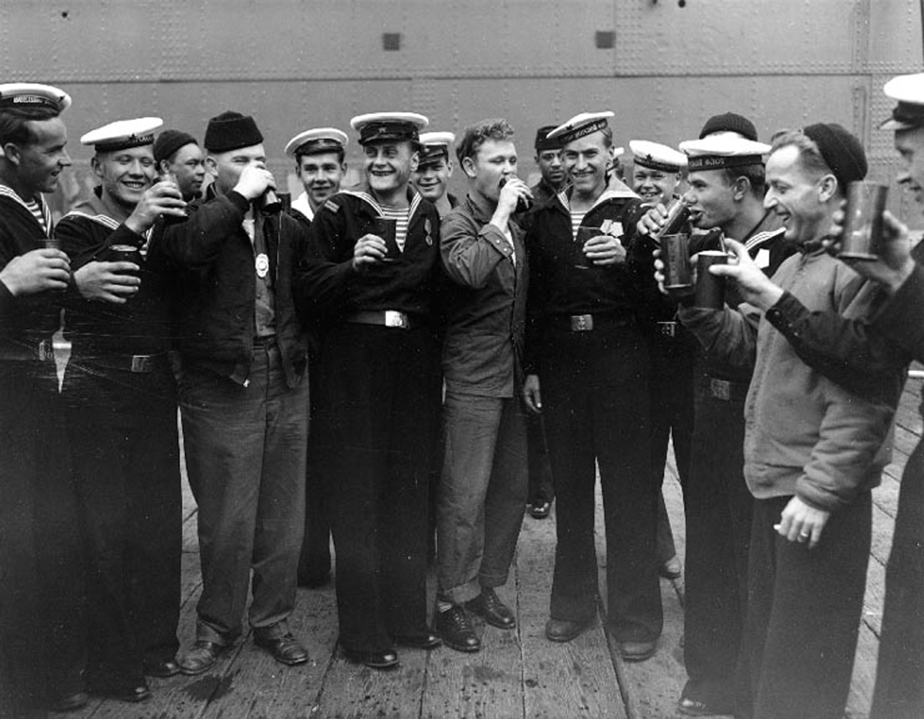 U.S. and Soviet sailors in Alaska celebrate the end of World War II. (U.S. Navy archives)