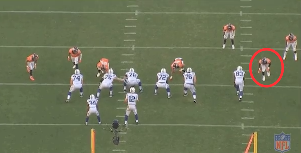 Look how wide Von Miller lines up on this play.