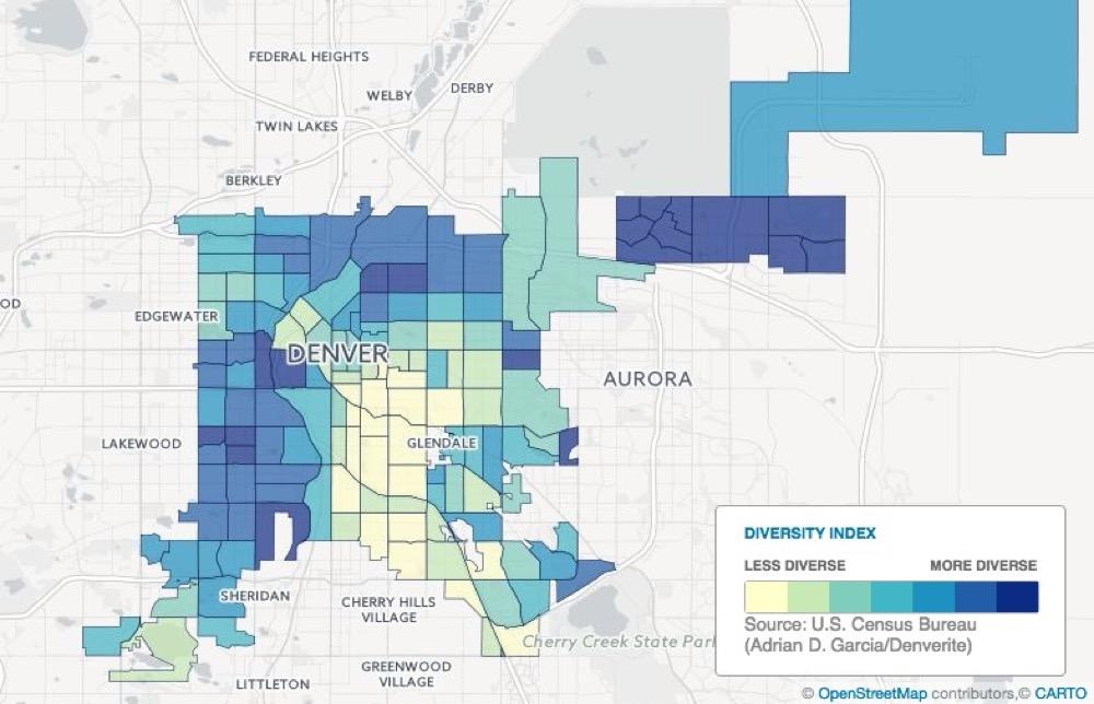 Map showing racial and ethnic diversity in Denver. (Adrian D. Garcia/Denverite)