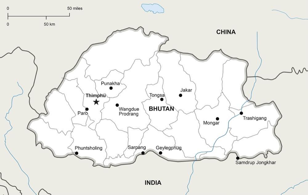 A map of Bhutan. (Pixabay)