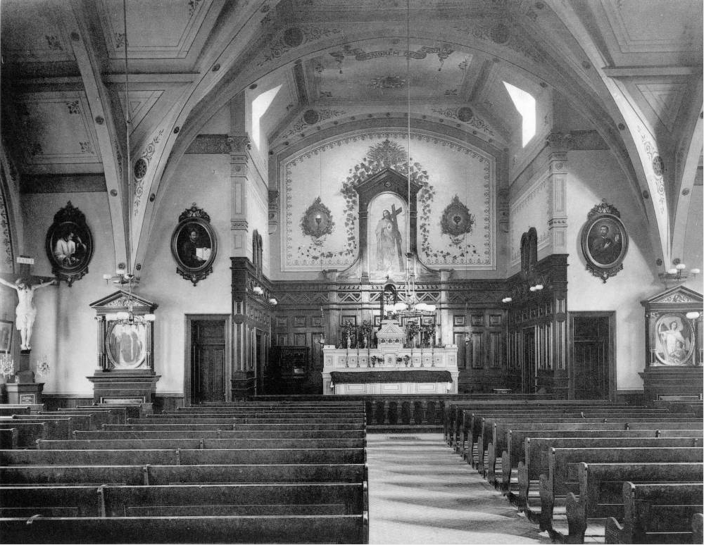 The interior of Sacred Heart Catholic Church in 1889. (Denver Public Library/Denver picturesque and descriptive/X-18869)