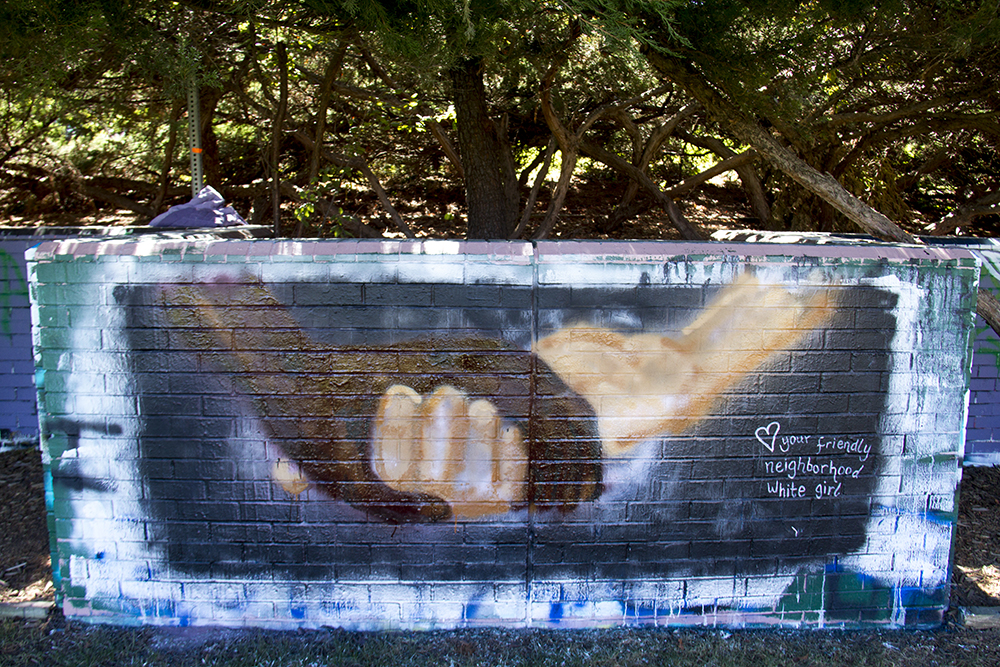 "A mural by ""your friendly neighborhood white girl."" (Kevin J. Beaty/Denverite)  du; racism; wall; free speech; protest; black lives matter; kevinjbeaty; denverite; denver; colorado; university of denver;"