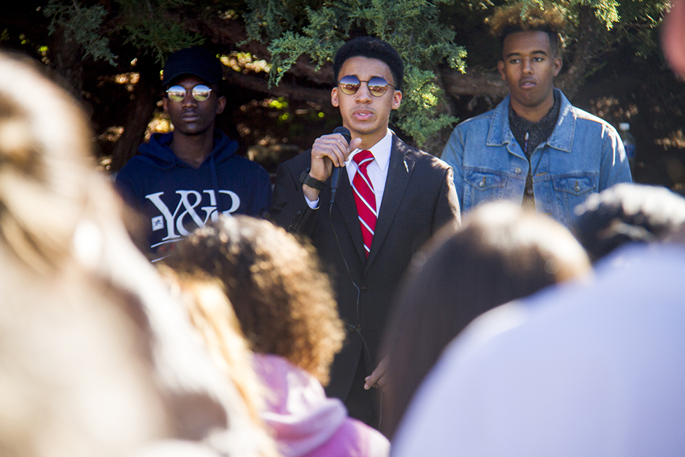 Ontario Duley leads a rally for peace after racial tensions rose around the University of Denver's free speech wall, Oct. 7, 2016. (Kevin J. Beaty/Denverite)  du; university of denver; black lives matter; protest; rally; racism; kevinjbeaty; denverite; denver; colorado;