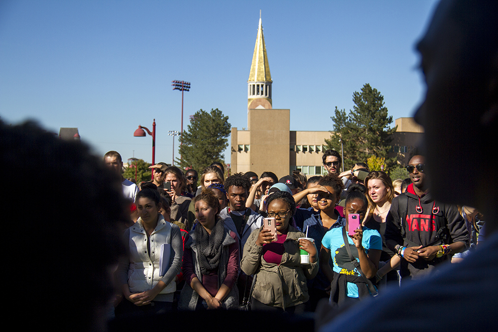 Students gather at a rally for peace after racial tensions rose around the University of Denver's free speech wall, Oct. 7, 2016. (Kevin J. Beaty/Denverite)  du; university of denver; black lives matter; protest; rally; racism; kevinjbeaty; denverite; denver; colorado;
