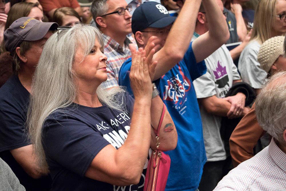"Colleen Farmer from Golden sported a ""Make America Sane Again."" (Chloe Aiello/Denverite)"