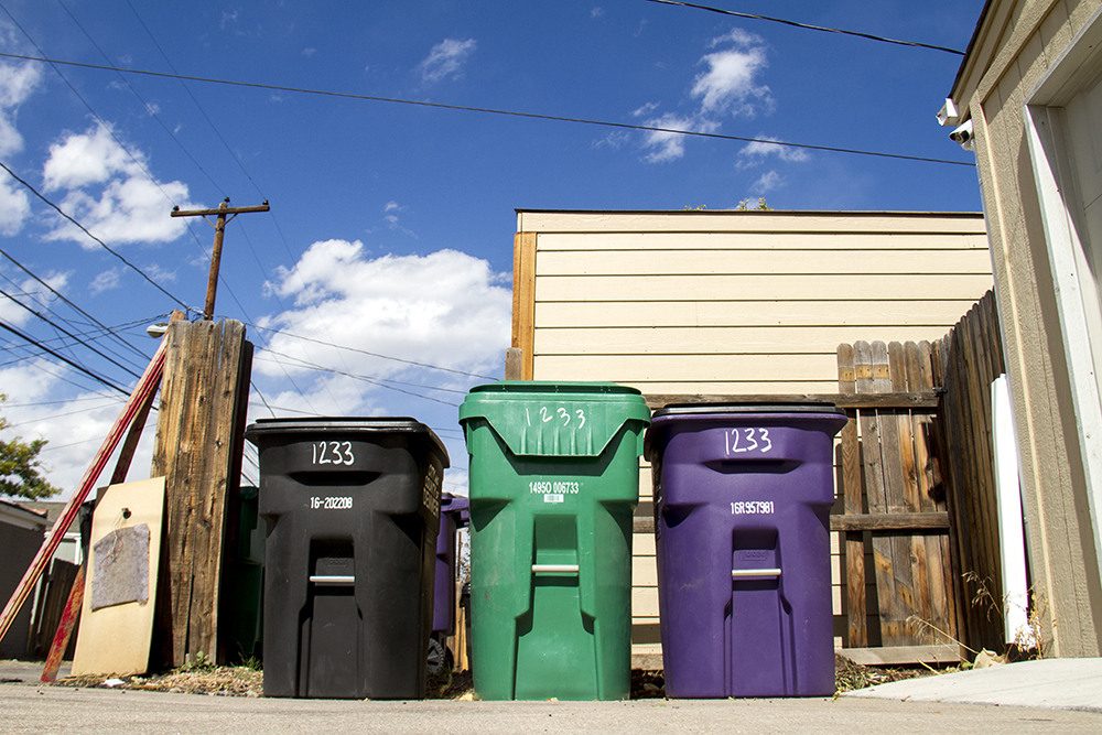Various waste bins in Lincoln Park. (Kevin J. Beaty/Denverite)  trash; garbage; recycling; lincoln park; kevinjbeaty; denverite; denverite; colorado;