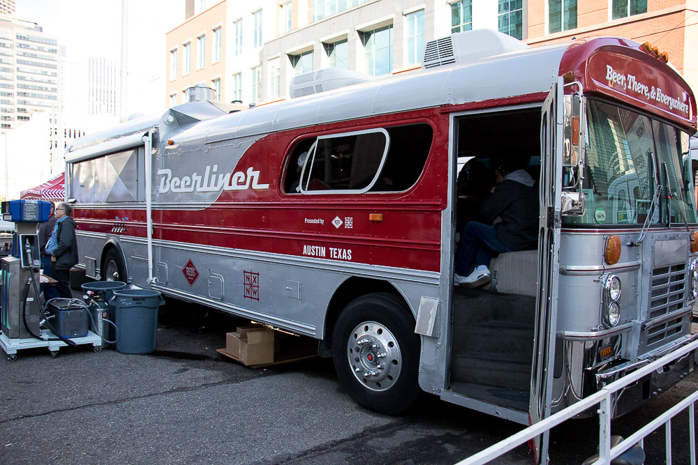 The real Beerliner is a tricked out bus with taps on the side from Texas, of course. (Chloe Aiello/Denverite)