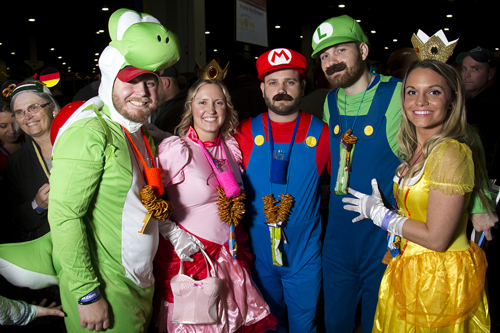 The Super Mario crew wait in line to enter the Great American Beer Fest, Oct. 6, 2016. (Kevin J. Beaty/Denverite)  great american beer fest; gabf; denver; colorado; food; nightlife; kevinjbeaty; denverite; denver; colorado;