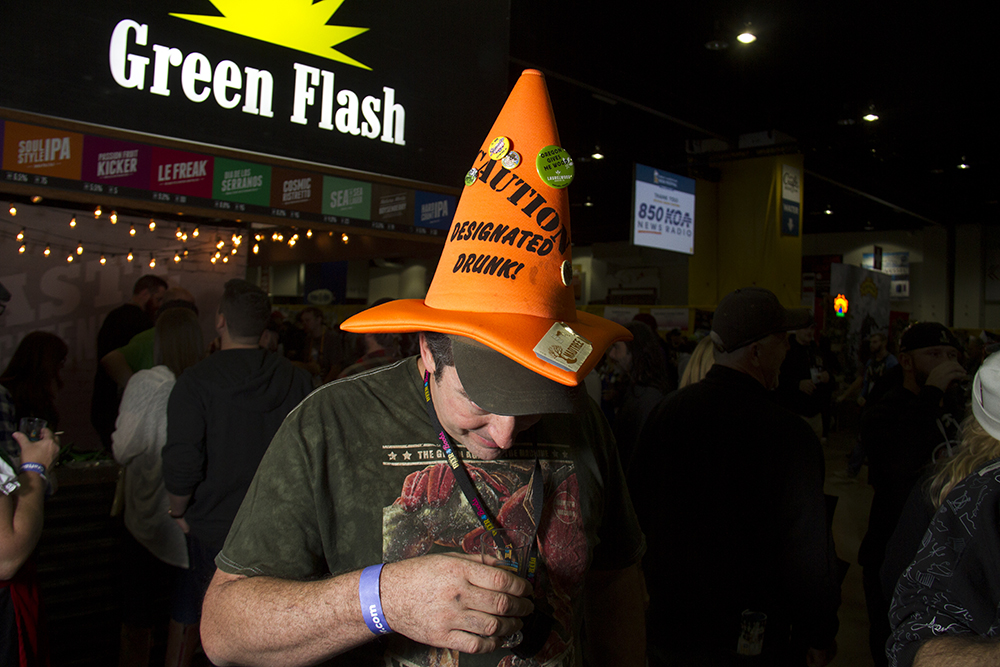Denverite Scott Robbens and his cone hat. Great American Beer Fest, Oct. 6, 2016. (Kevin J. Beaty/Denverite)  great american beer fest; gabf; denver; colorado; food; nightlife; kevinjbeaty; denverite; denver; colorado;